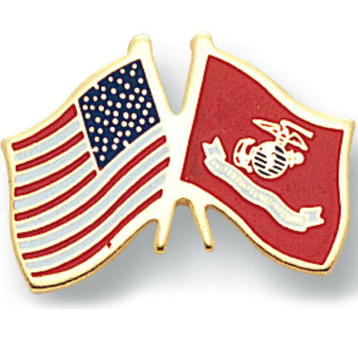 Crossed USMC & American Flags Pin