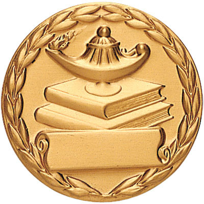 Lamp Of Learning Medal With Scroll