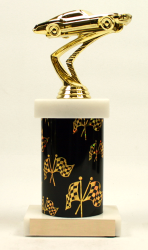 Marble Base Graphic Column Racing Trophy