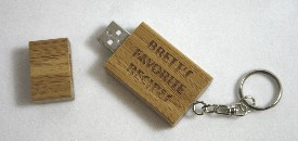 Personalized bamboo USB flash drive with key chain