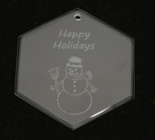 Personalized hexagon glass ornament
