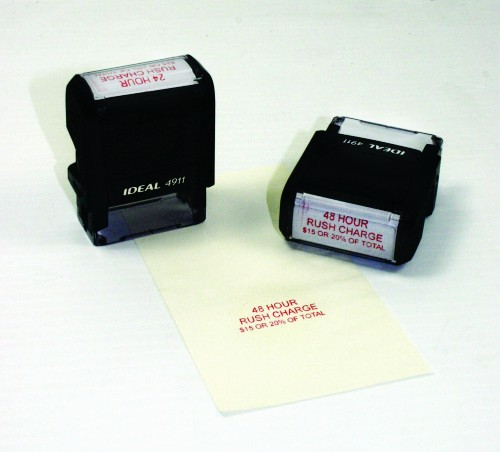 IDEAL Personalized 4 line self inking stamp 2 by .75 inch small