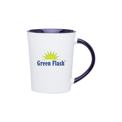 14 oz. glossy white ceramic mug with accent interior and handle