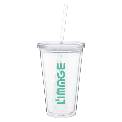 16 oz. acrylic double wall tumbler with straw