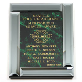 Beveled Smoked Glass Plaque