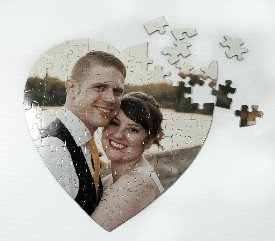 Personalized heart jigsaw puzzle