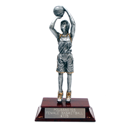 Silver Resin Girls Basketball Trophy